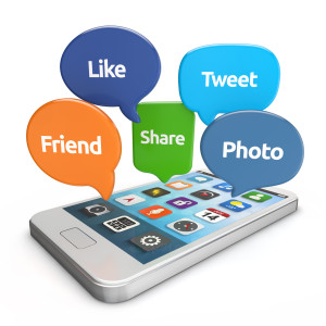 smartphone with social media bubbles (like, tweet, friend, share