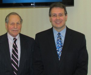 Joseph J. LiBassi, chairman of VSB Bancorp, Inc., left, meets with Raffaele (Ralph) M. Branca, president and CEO of VSB Bancorp, Inc.