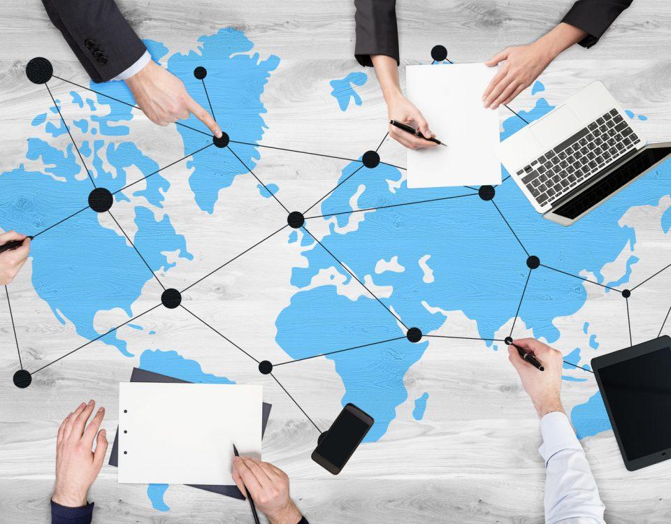 Global networking on wooden desktop